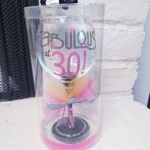 New Mudpie Fabulous 30 tall wine glass